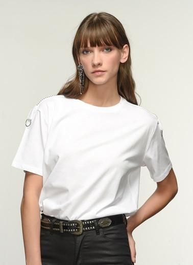 NGSTYLE Kadın Kol Detaylı  Tişört NGKSS21TS0047 Beyaz